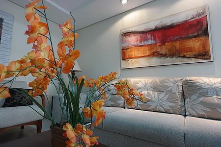 Apartament, decoració, edifici, flors, disseny, equipatge, sofà