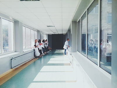 people, white, hallway, doctors, hospital, health, nurses