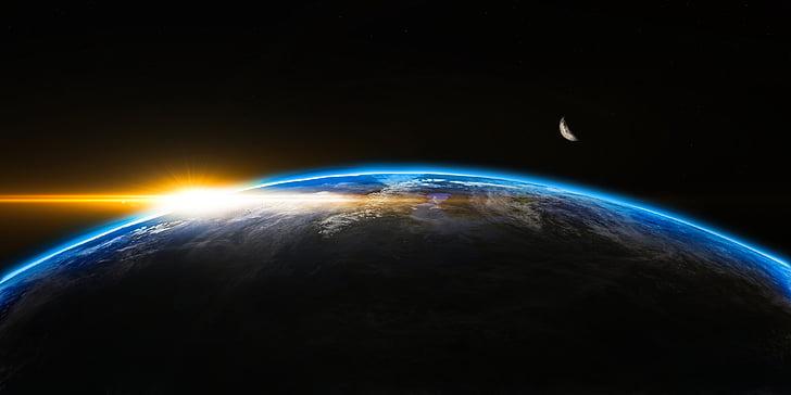 lever du soleil, espace, extérieure, Globe, monde, Terre, Dim