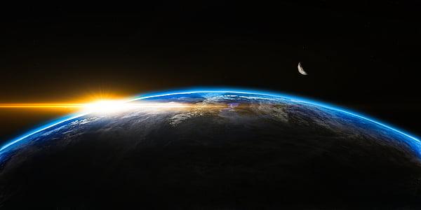 Alba, espai, exterior, globus, món, terra, sol