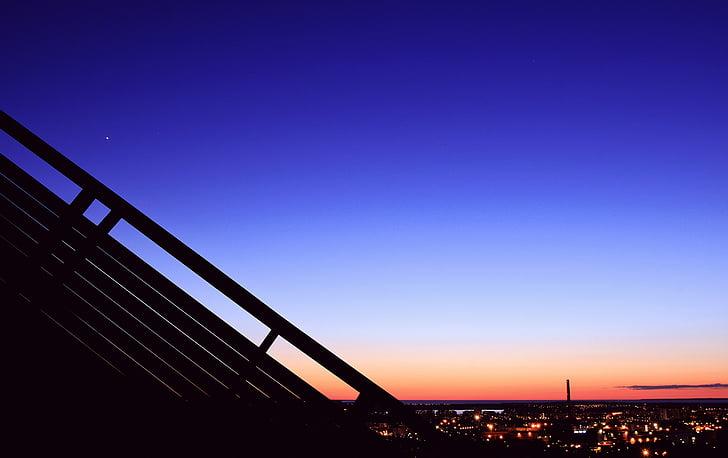 sky, night, bllue, peaceful, city night, illuminated, blue