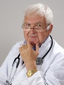 metge, cabell gris, experiència, estetoscopi, ulleres, només un home, salut i medicina