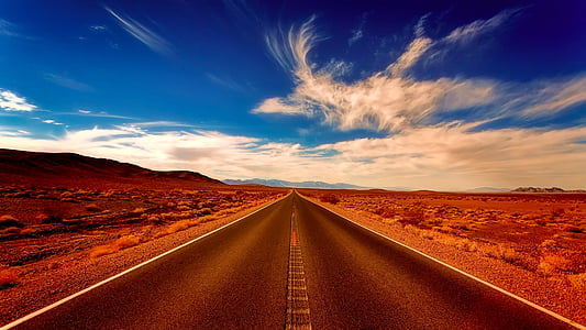 desert, landscape, road, highway, travel, sky, clouds