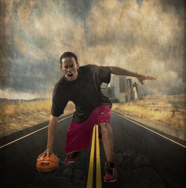 bàsquet, jugador, enfadat, home, mascle, amb textura, pilota