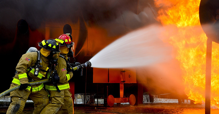 firefighters, training, live, fire, controlled, protection, danger