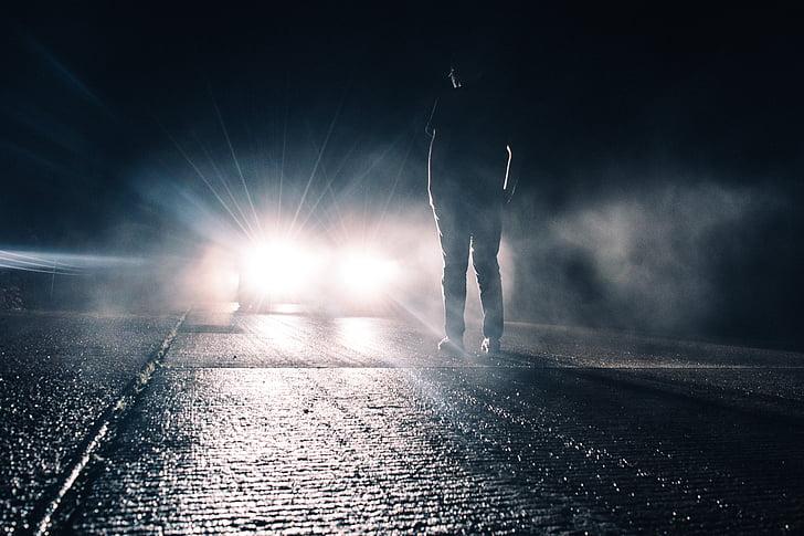 persona, peu, frontal, cotxe, home, estand, pluja