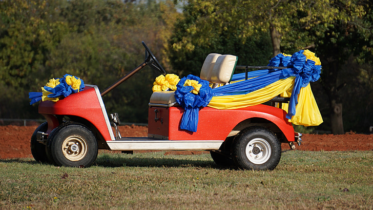 Golfo automobilis, transporto priemonės, vestuvių automobilį, golfo aikštynas, Be namų, vejos, papuošti