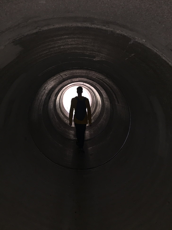 túnel, tub del túnel, llum al final del túnel, tristesa, tub, tub de formigó, canal