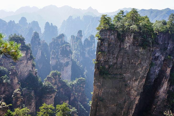 China, Parque Nacional, Zhangjiajie, Província de Hunan, montanha, penhasco, natureza