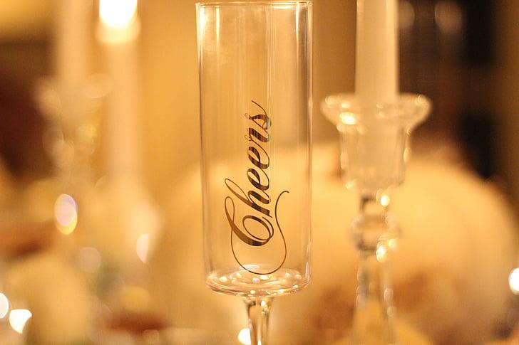 Ziemassvētku galda, Ziemassvētku vakariņas, tabulas iestatījums, šampanieša, šampanieša glāzi, Uz redzēšanos, Ziemassvētki