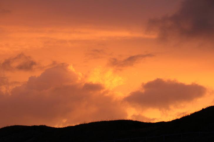 sun, sunset, setting sun, brand, orange, nature, sea