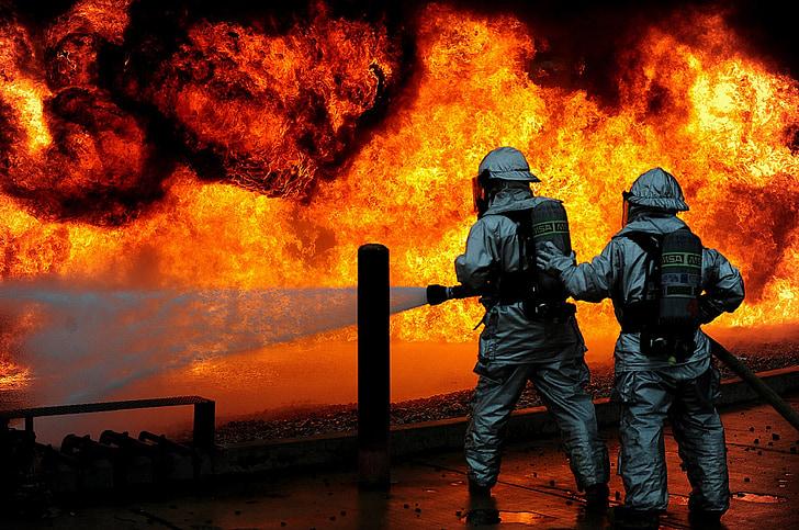 tűzoltók, képzés, Live, tűz, ellenőrzött, védelem, veszély