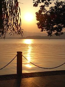 일몰, 호수, abendstimmung, 로맨스, 조 경, 자연, 야외에서