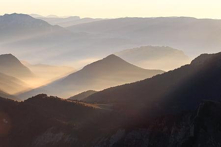 mountain, highland, cloud, sky, summit, ridge, landscape