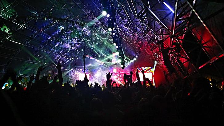 audience, band, celebration, crowd, dancing, festival, lights