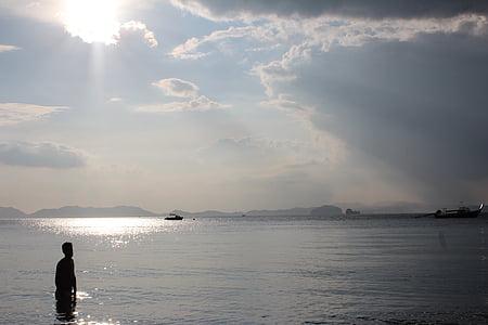 Sunbeam, vody, more, chlapec, Bill, Slnečné svetlo, oblaky