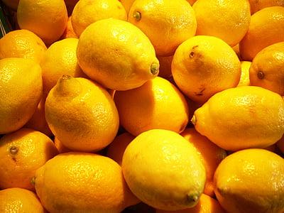 レモン, レモン, 柑橘類, フルーツ, イエロー, サワー, 食べ物や飲み物