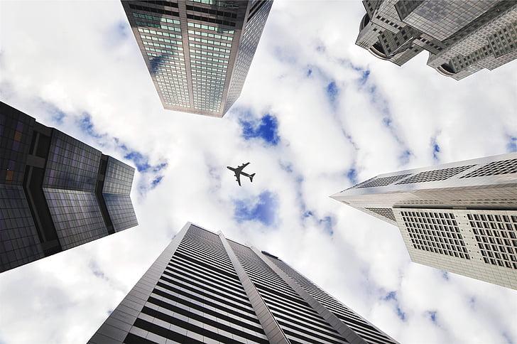 madal, nurk, Fotograafia, lennuk, Top, City, hoonete