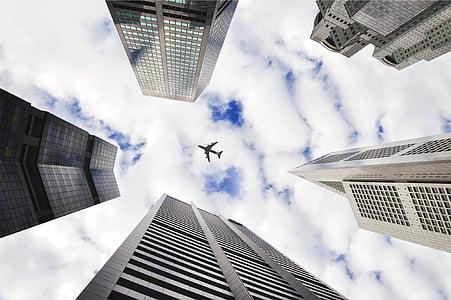 thấp, góc, Nhiếp ảnh, máy bay, đầu trang, thành phố, tòa nhà