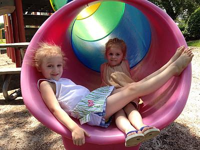 park, playground, slide, play, summer, outdoor, girls