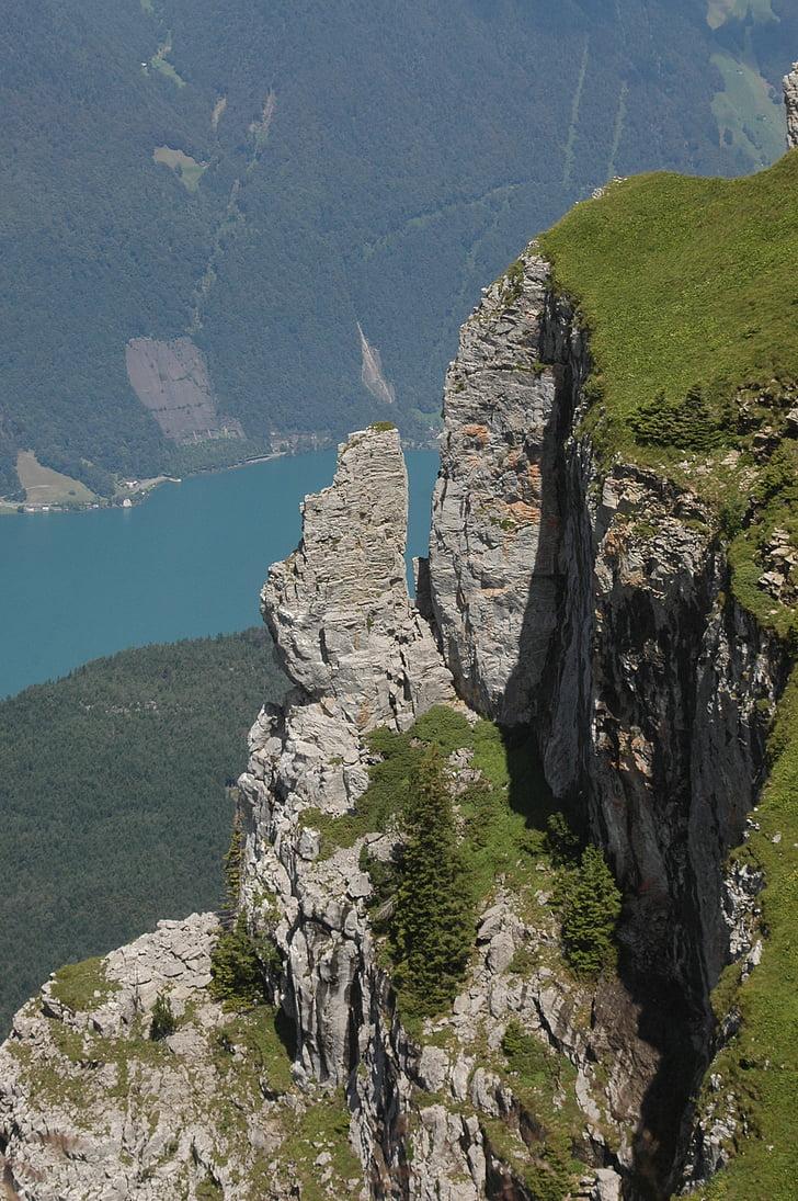 rock, mountains, mountain, lake, landscape