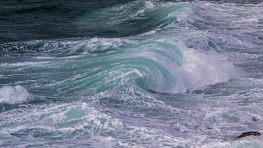 val, morje, pene, Hrvaška, vode, spray, surf