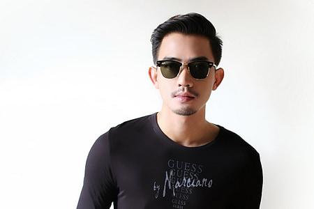 eyewear, short hair, men's, portrait, adel, sunglasses, white background