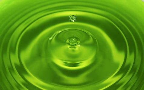 l'aigua, gota, verd, gota d'aigua, líquid, netejar, clar