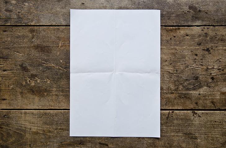 affiche vide, table en bois, blanc, vide, bois, en bois, planche