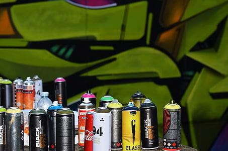 warna-warni, dapat, botol, semprot, cat