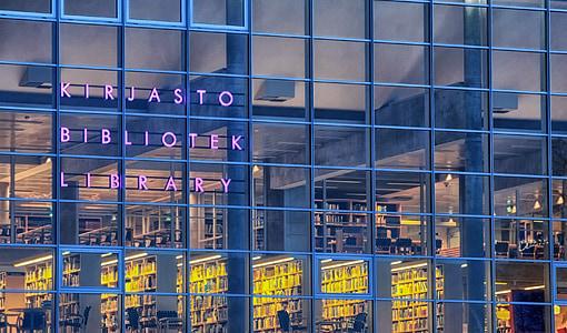 Oulu, Finlàndia, Biblioteca Municipal, Windows, Reflexions, HDR, llibres