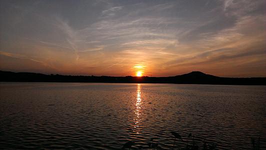 호수, 일몰, 자연, abendstimmung, 로맨스, 물, 조 경