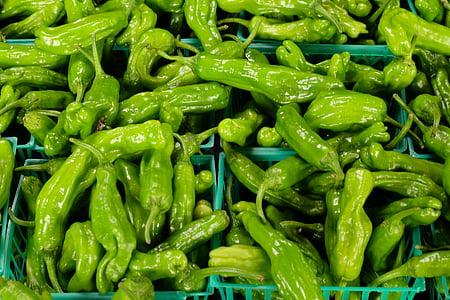 pimentos verdes, pimentas, produtos hortícolas, saudável, fresco, verde, vegetal
