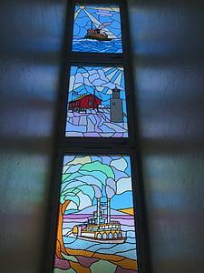 art en vidre, vistes, l'escala, l'església, vidrieres, arquitectura, finestra