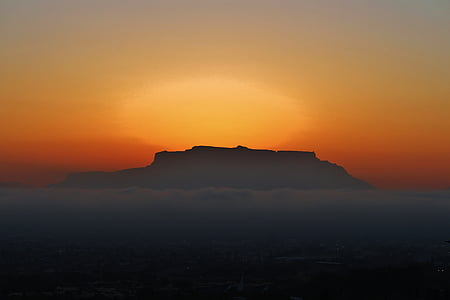 cape town, table mountain, cloud bank, sunset, south africa