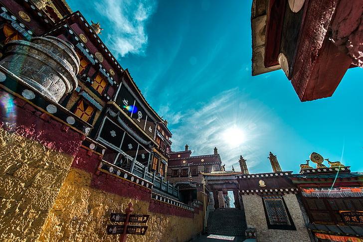 Temple, tibétain, plateau