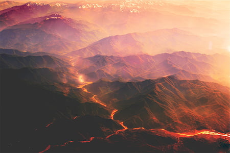volcanoes, magma, lava, mountains, hills, hot, sunset