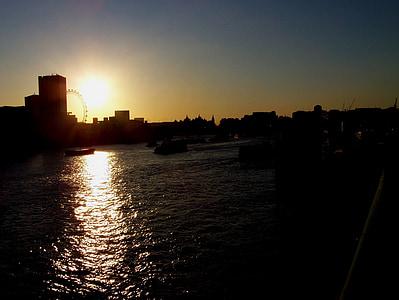 sunset, thames, river, river thames, london, cityscape, tourism