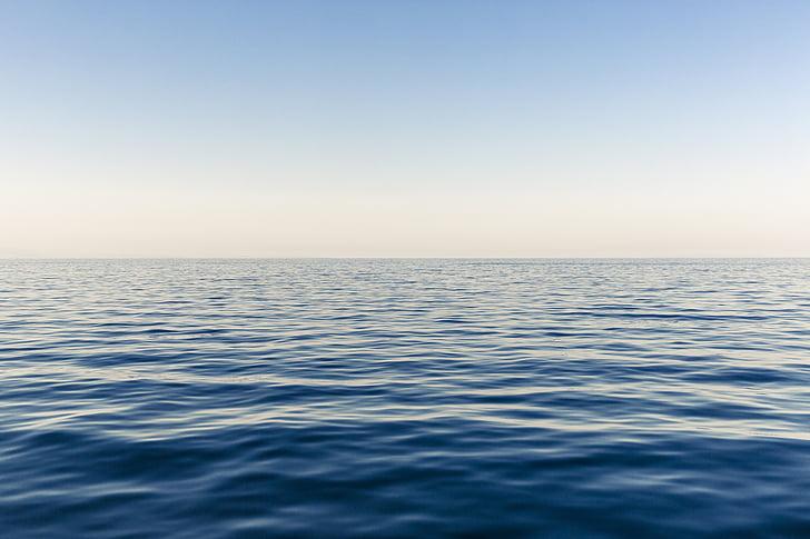Голубое небо, Горизонт, океан, мне?, небо, поверхность, воды