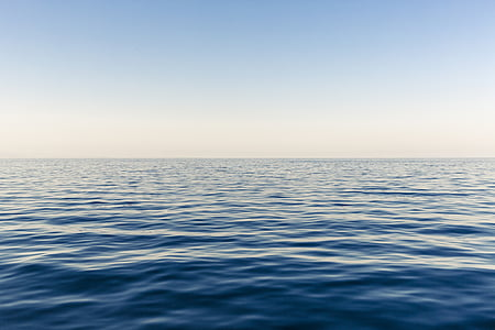 blue sky, horizon, ocean, sea, sky, surface, water