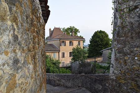 poble, pedres, ex, França, paret, antic poble
