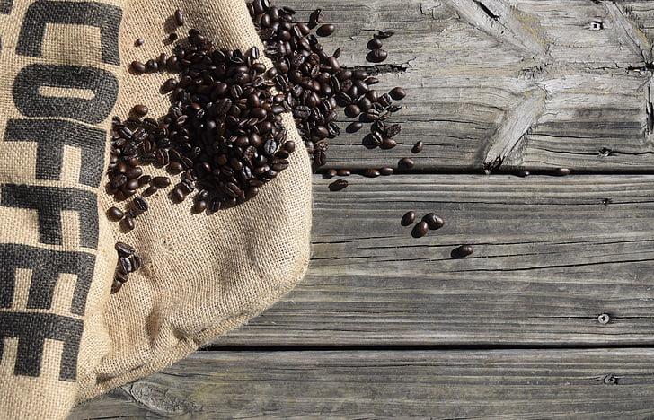 koffie, bonen, Espresso, geroosterde, cafeïne, jute, hout