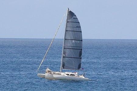 segelbåt, katamaran, båt, fartyg, kryssning, rekreation, segel