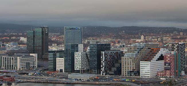 Oslo, Norge, Oslofjorden, staden, moderna, skyskrapa, Scandinavia