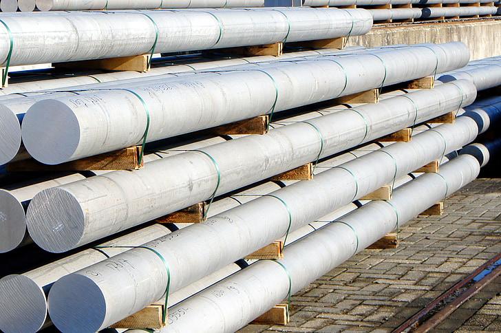alumini, barres, transport, talla comercial, indústria, canonada, canonada - tub
