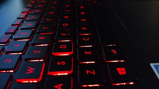 科技, 计算机, 键盘, 红色, 黑色, 电脑键盘, 技术