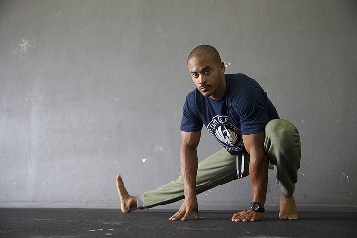 estirament, flexibilitat, gimnàs, exercici, entrenament, ajust, gimnàs
