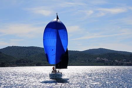 sailing boat, sailing vessel, ship, boat mast, boot, port, sail