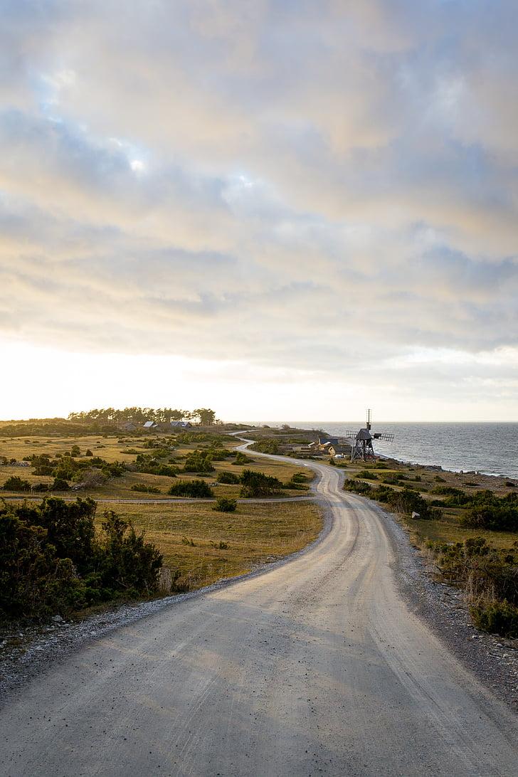 country road, seaside, road, country, outdoor, sunlight, ocean water