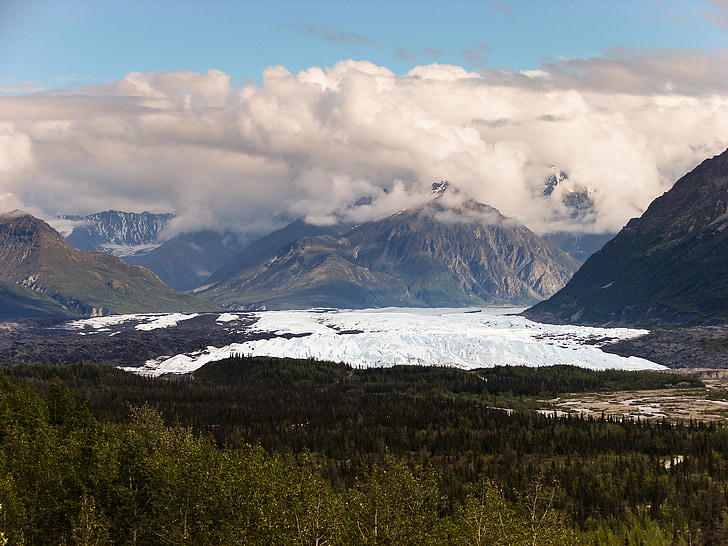 Muntanyes Rocalloses, glacera, a l'exterior, paisatge, Alaska, núvols